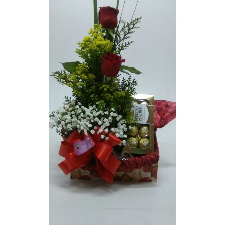 Kit com Rosas e Chocolates
